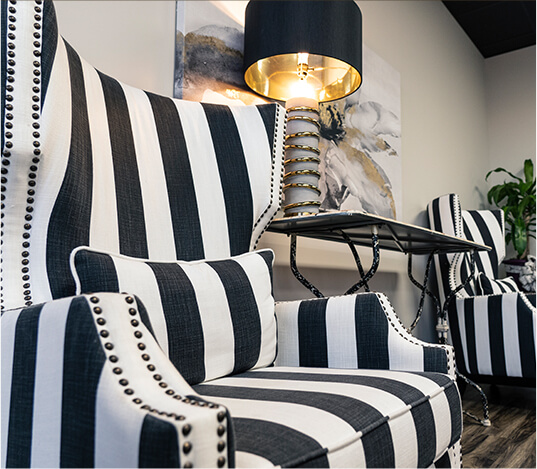 striped chair in waiting room