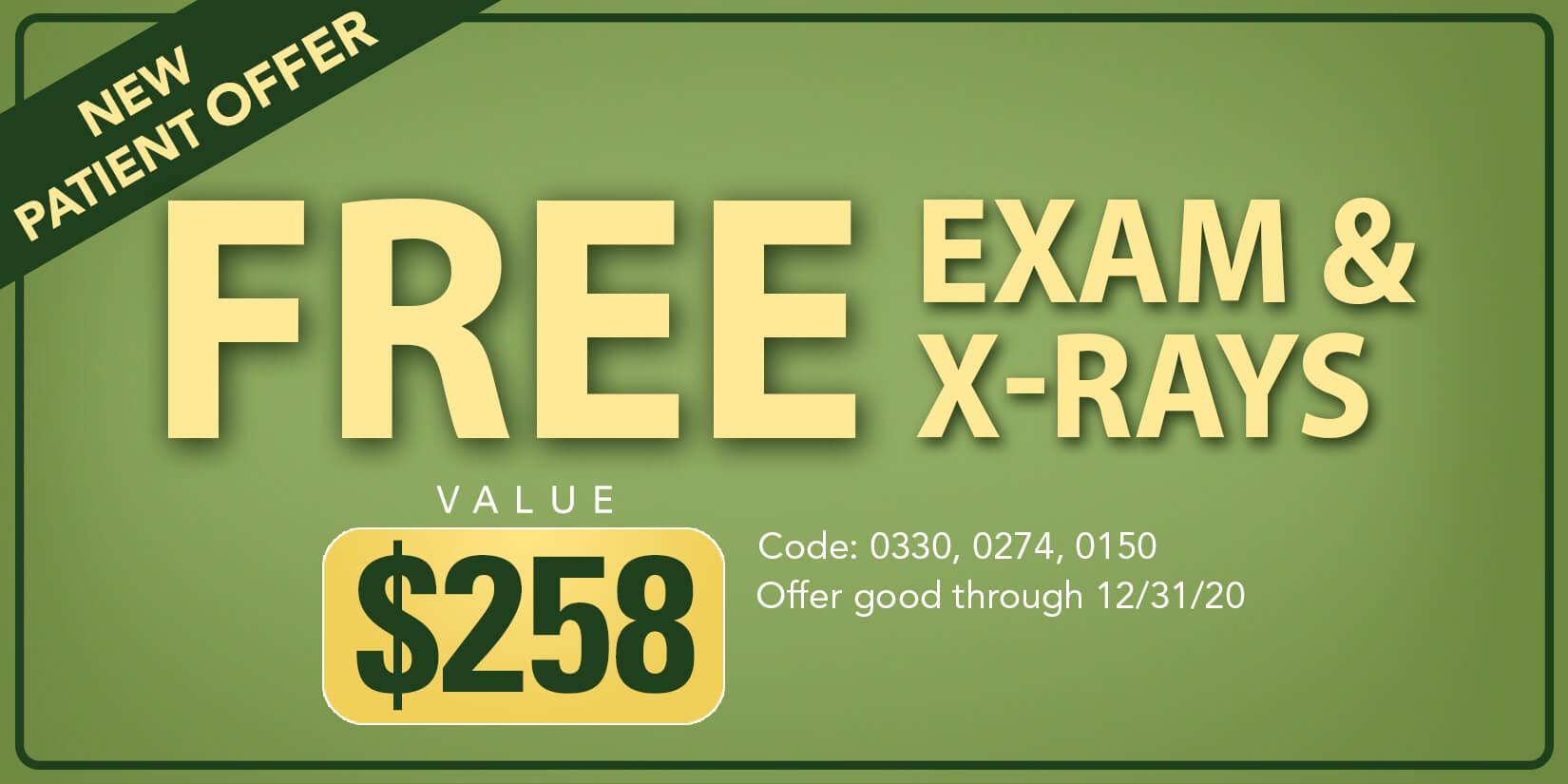 free exam and xrays