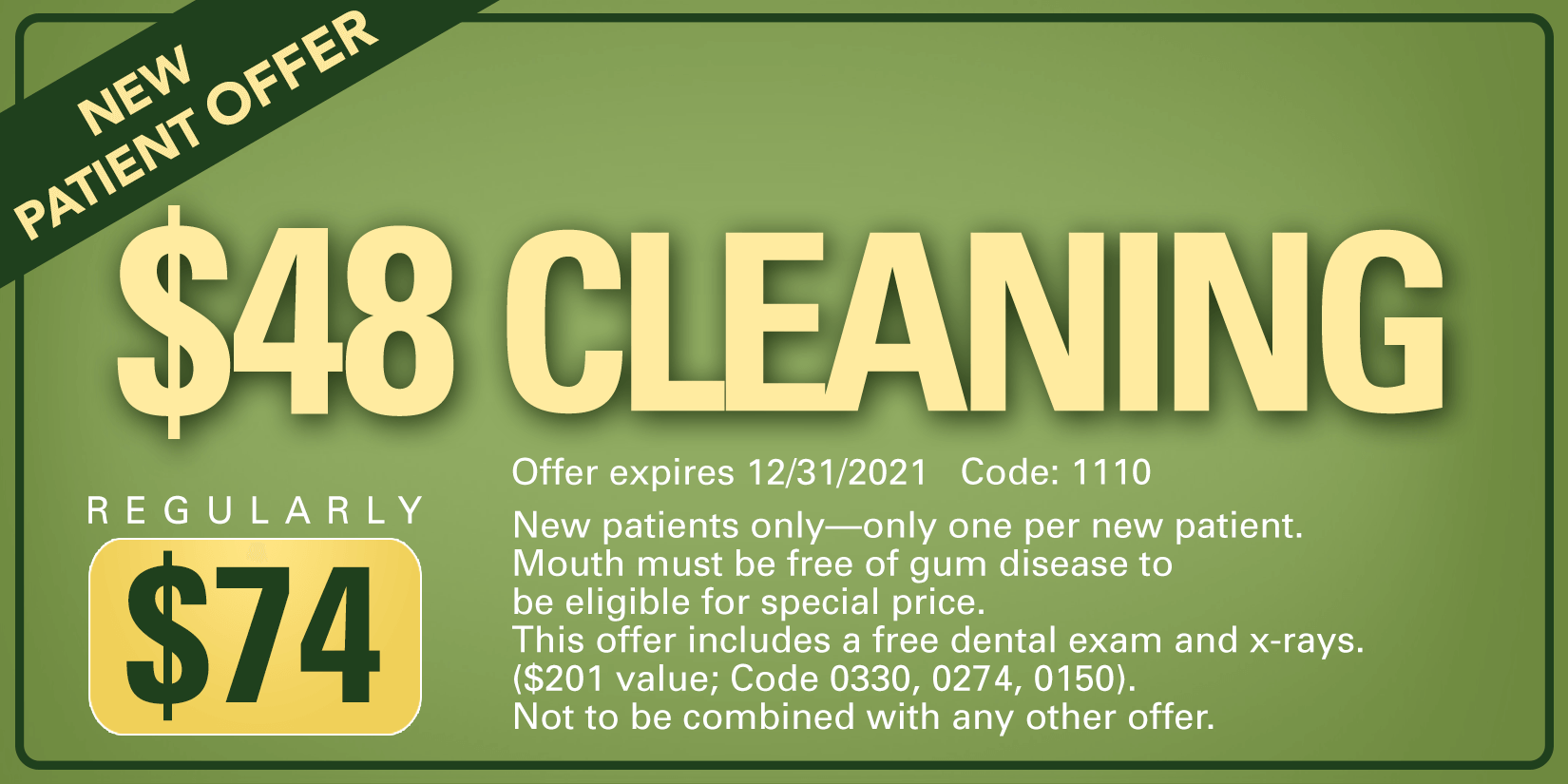 $48 cleaning coupon